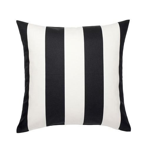 VÅRGYLLEN Cushion cover, white, black