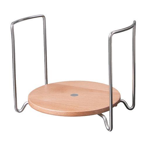 VARIERA Plate holder, light beech, stainless steel