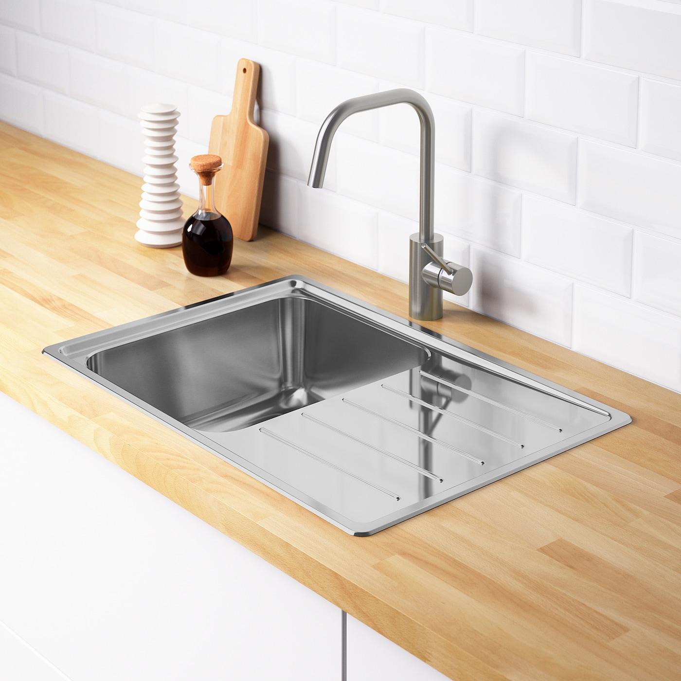 VATTUDALEN Inset sink, 10 bowl with drainboard - stainless steel 10x10 cm