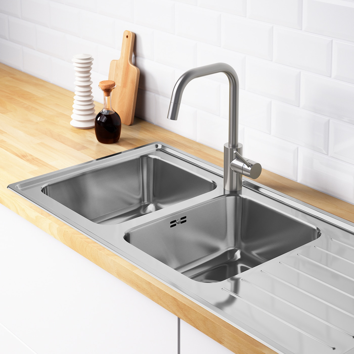 VATTUDALEN Inset sink, 10 bowls with drainboard - stainless steel 10x10 cm