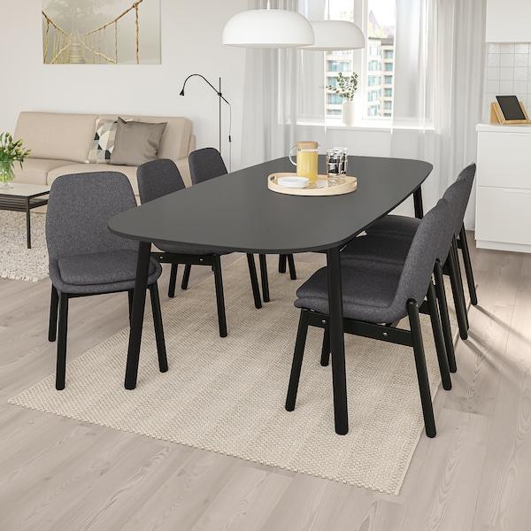 VEDBO طاولة طعام, أسود, 240x105 سم