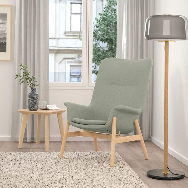 VEDBO كرسي بذراعين ذو ظهر عالي, Gunnared أخضر فاتح