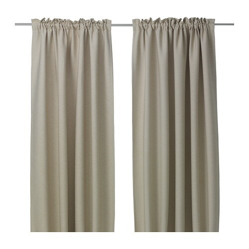 VILBORG Curtains, 1 pair, beige