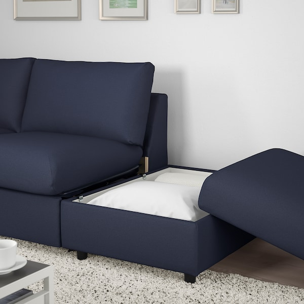 VIMLE 3-seat sofa-bed with open end/Orrsta black-blue 53 cm 83 cm 68 cm 246 cm 98 cm 241 cm 55 cm 48 cm 200 cm 12 cm