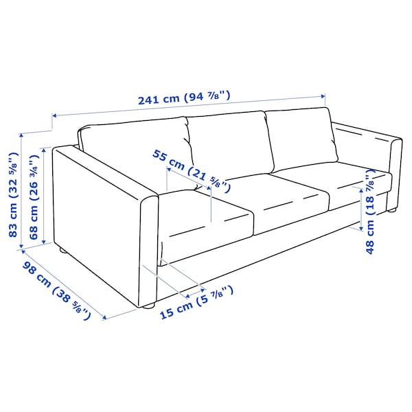 VIMLE 3-seat sofa, Saxemara black-blue