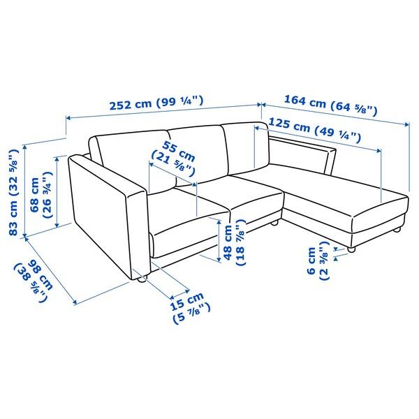 VIMLE 3-seat sofa, with chaise longue/Gunnared medium grey