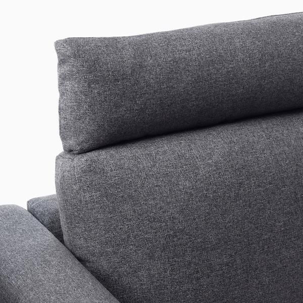 VIMLE 3-seat sofa with chaise longue, with headrest/Gunnared medium grey