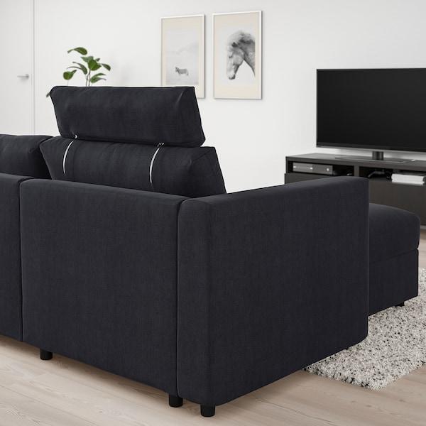 VIMLE كنبة بثلاث مقاعد مع أريكة طويلة, مع مسند للرأس Saxemara/أسود-أزرق