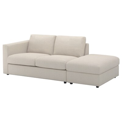 VIMLE 3-seat sofa, with open end/Gunnared beige