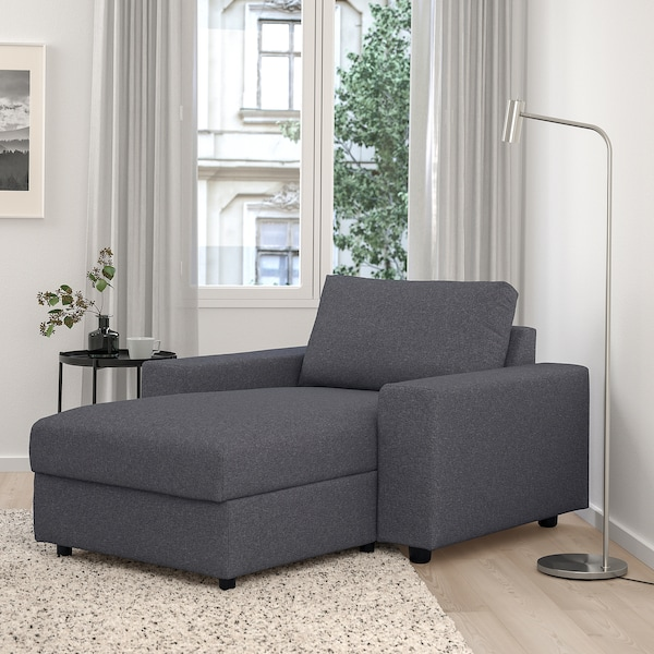 VIMLE Chaise longue, with wide armrests/Gunnared medium grey