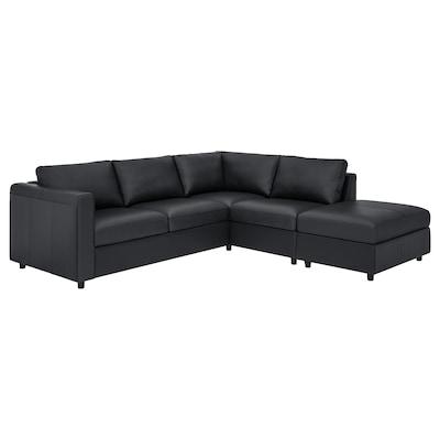 VIMLE كنبة زاوية، 4 مقاعد, مع طرف مفتوح/Grann/Bomstad أسود