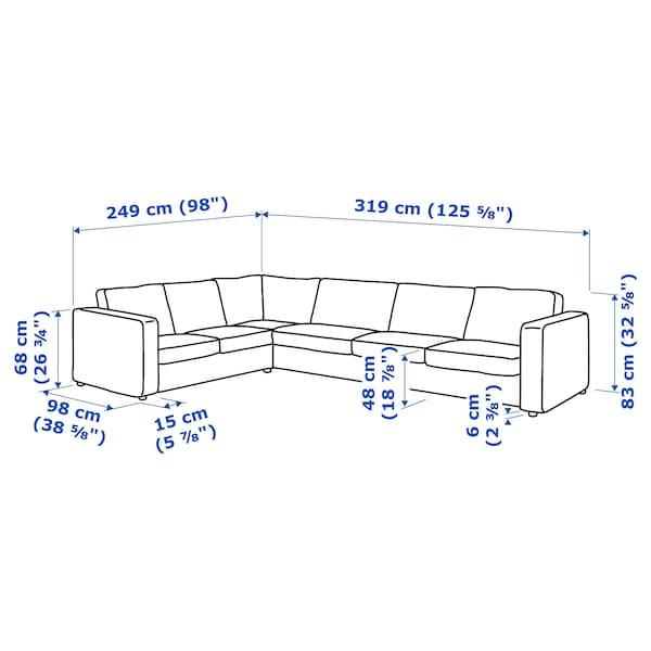 VIMLE Corner sofa, 5-seat, Saxemara black-blue