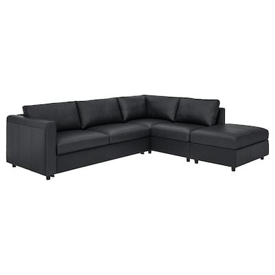 VIMLE Corner sofa-bed, 4-seat, with open end/Grann/Bomstad black