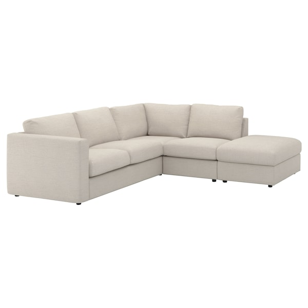 VIMLE cover for corner sofa, 4-seat with open end/Gunnared beige