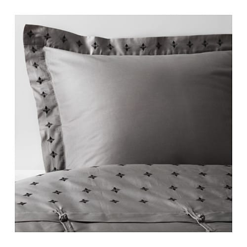 VINRANKA Quilt cover and pillowcase, grey