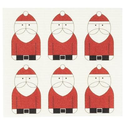VINTER 2020 منشفة صحون, نقش بابا نويل أبيض/أحمر