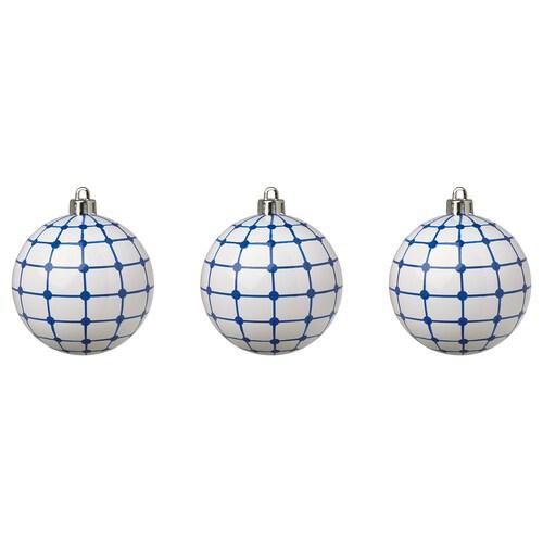 VINTERFEST decoration, bauble white/blue 8 cm 3 pack