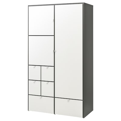VISTHUS Wardrobe, grey/white, 122x59x216 cm
