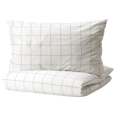 VITKLÖVER غطاء لحاف و غطاء مخدة, أبيض أسود/مربّع, 150x200/50x80 سم