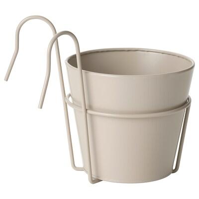 VITLÖK Plant pot with holder, in/outdoor beige, 15 cm