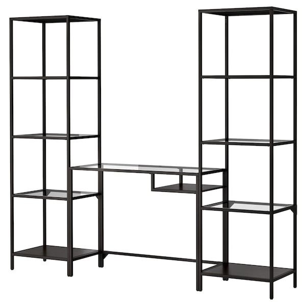 VITTSJÖ Shelving unit with laptop table, black-brown/glass, 202x36x175 cm