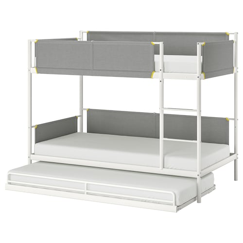 VITVAL bunk bed frame with underbed white/light grey 100 kg 207 cm 97 cm 162 cm 23 cm 200 cm 90 cm 91 cm 13 cm