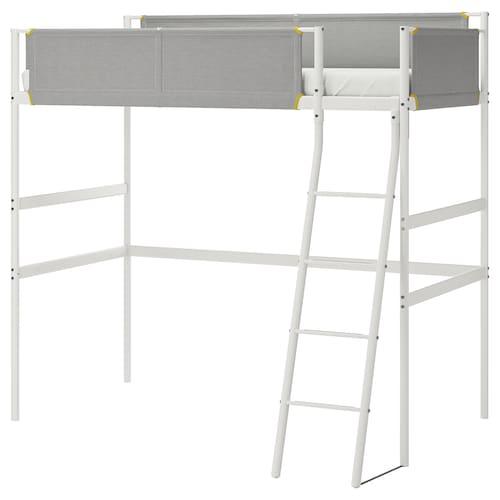 VITVAL loft bed frame white/light grey 135 cm 207 cm 97 cm 195 cm 150 cm 100 kg 200 cm 90 cm 13 cm
