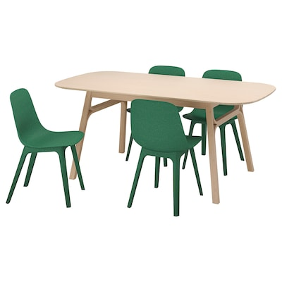 VOXLÖV / ODGER Table and 4 chairs, bamboo/green, 180x90 cm