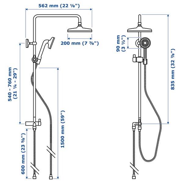 VOXNAN Head/handshower kit with diverter, chrome-plated