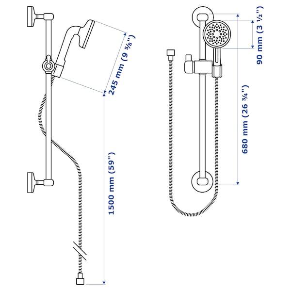 VOXNAN Riser rail with handshower kit, chrome-plated