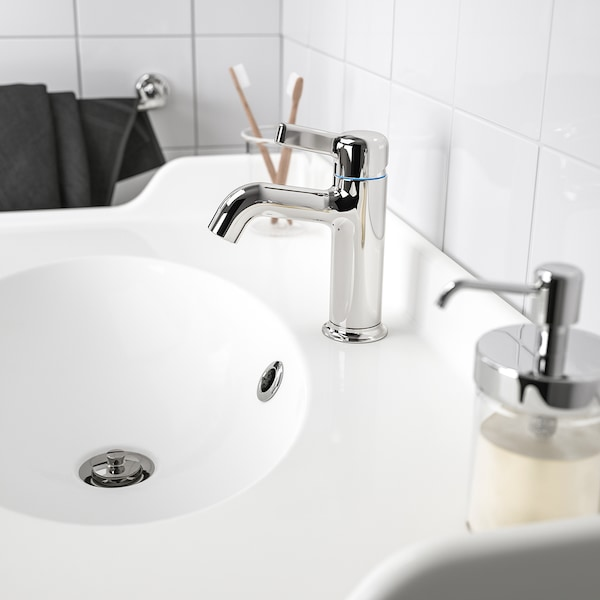 VOXNAN wash-basin mixer tap with strainer chrome-plated 18 cm