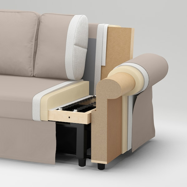 VRETSTORP كنبة-سرير 3 مقاعد, Hallarp رمادي