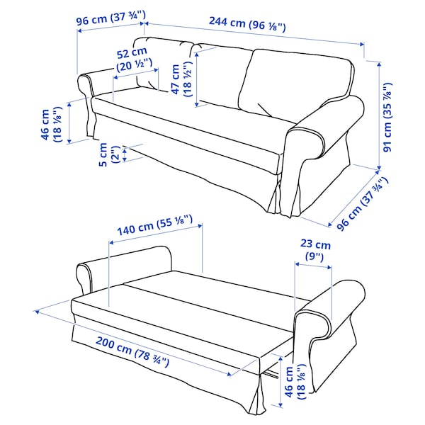 VRETSTORP كنبة-سرير 3 مقاعد, Totebo تركواز غامق