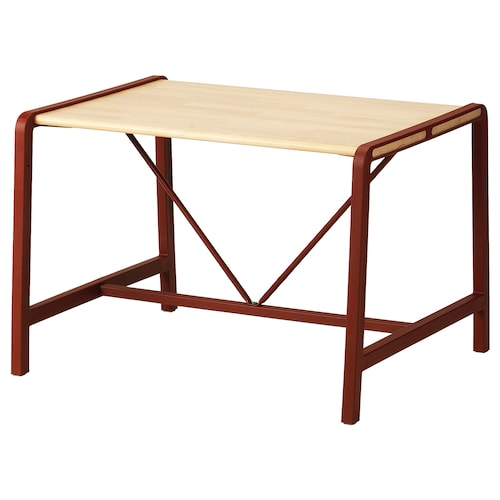 YPPERLIG children's table beech/dark red 74 cm 62 cm 51 cm