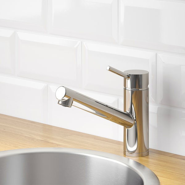 YTTRAN kitchen mixer tap w pull-out spout chrome-plated 18 cm