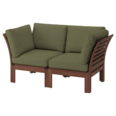 ÄPPLARÖ 2er-Sitzelement/außen, braun las./Frösön/Duvholmen dunkles Beigegrün, 160x80x84 cm