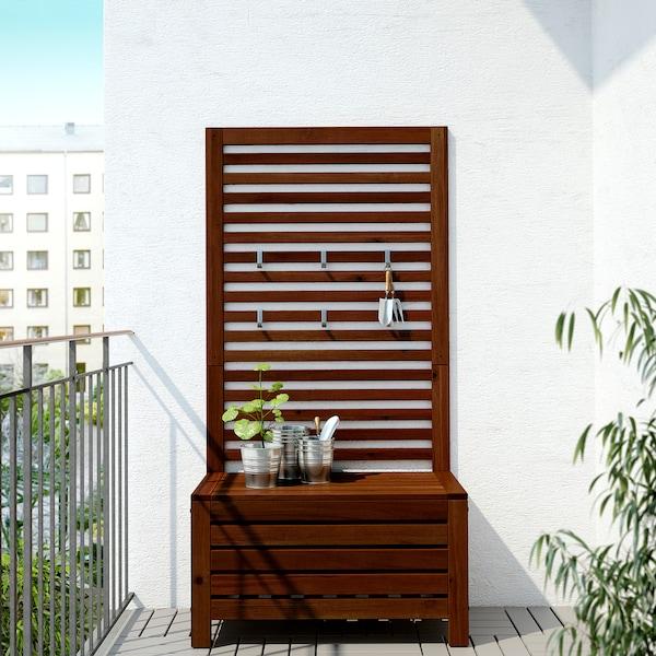 ÄPPLARÖ Bank+Wandpaneel/außen, braun las., 80x44x158 cm