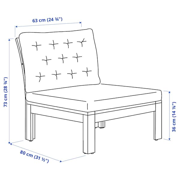 ÄPPLARÖ Sessel/außen, braun las./Kuddarna beige, 63x80x80 cm