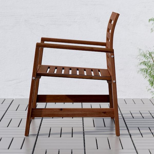 ÄPPLARÖ Tisch+6 Armlehnstühle+Bank/außen, braun las./Kuddarna beige