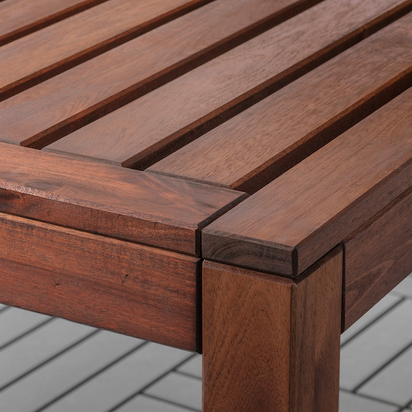 ÄPPLARÖ Tisch+6 Armlehnstühle+Bank/außen, braun las./Kuddarna grau