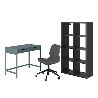 ALEX/LÅNGFJÄLL / KALLAX Schreibtisch+Aufbewahrungskombi, und Drehstuhl grautürkis/schwarz