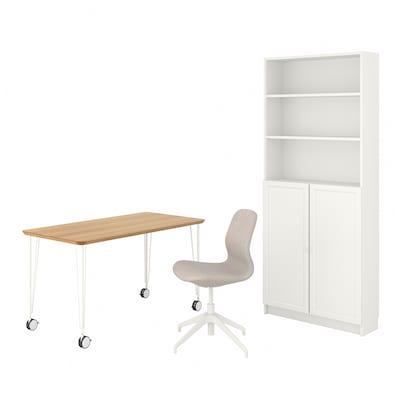 ANFALLARE/LÅNGFJÄLL / BILLY/OXBERG Schreibtisch+Aufbewahrungskombi, und Drehstuhl Bambus/beige weiß