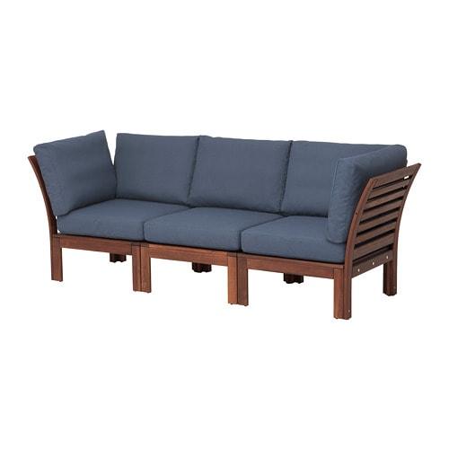 ÄPPLARÖ 3er-Sofa/außen - braun las./Frösön/Duvholmen blau - IKEA