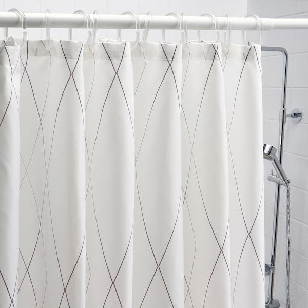 BASTSJÖN Duschvorhang, weiß/grau/beige, 180x200 cm