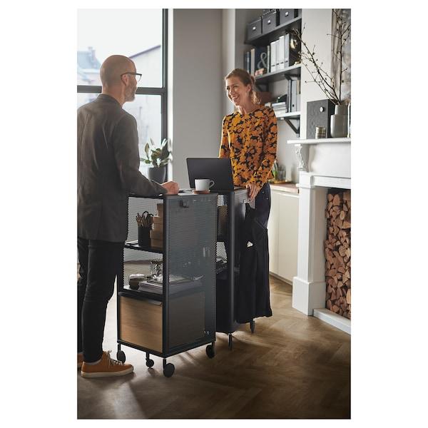 BEKANT Aufbewahrung mit NFC-Schloss, Netz schwarz, 41x101 cm