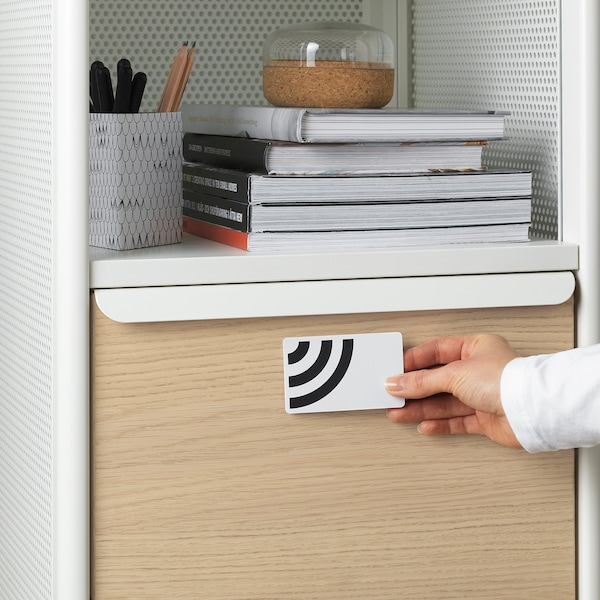 BEKANT Aufbewahrung mit NFC-Schloss, Netz weiß, 41x61 cm