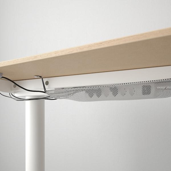 BEKANT Ecktisch rechts sitz-/steh, Eichenfurnier weiß lasiert weiß, 160x110 cm