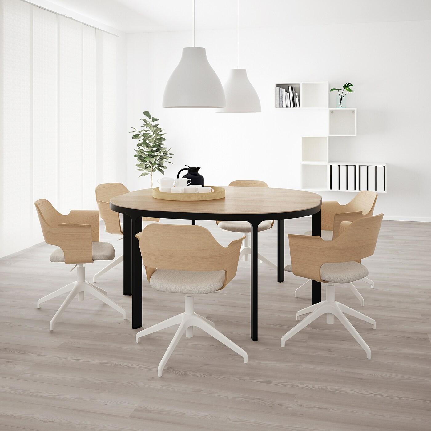 BEKANT Konferenztisch, Eichenfurnier weiß lasiert/schwarz, 140 cm