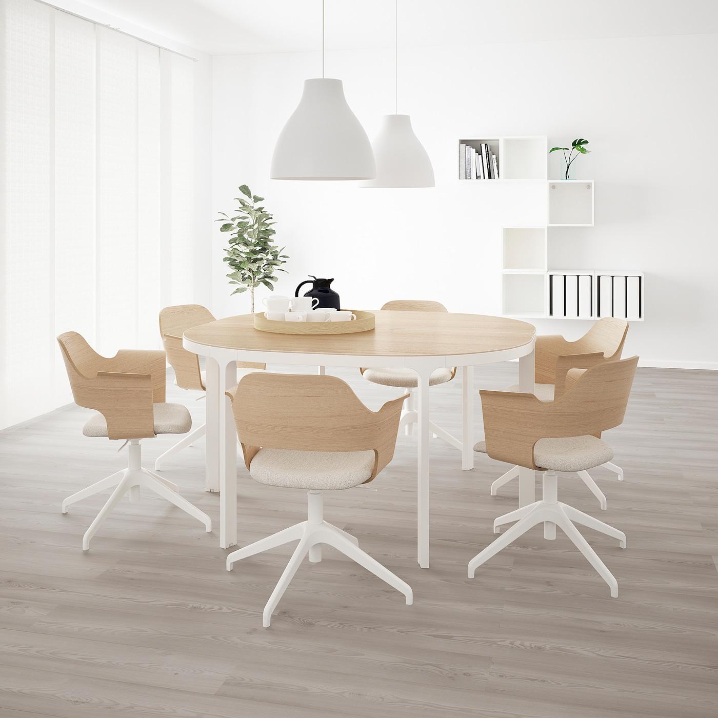 BEKANT Konferenztisch, Eichenfurnier weiß lasiert/weiß, 140 cm