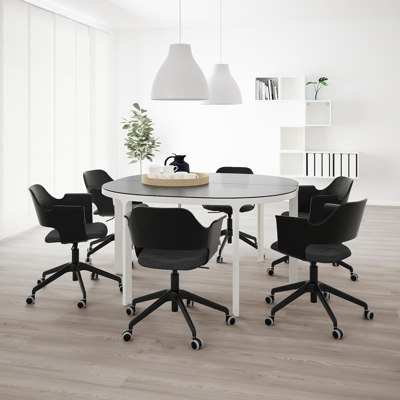 BEKANT Konferenztisch, schwarz gebeiztes Eschenfurnier/weiß, 140 cm
